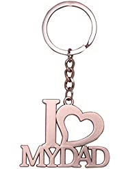 GCT I LOVE MY DAD / PAPA / Fathers Day Gift Metal Keychain / Keyring / Key Ring / Key Chain (Silver)