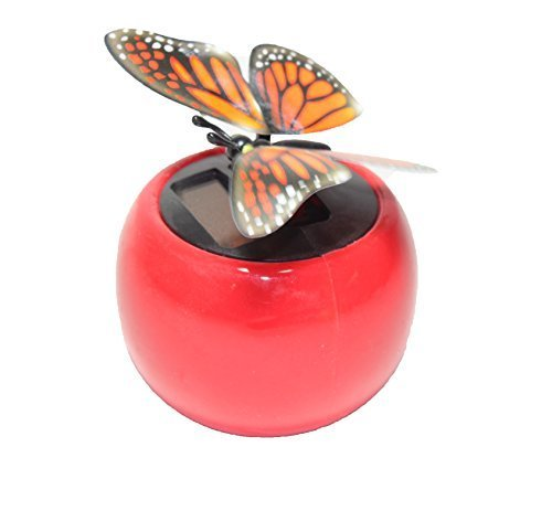 A Flip Flap Wings Dancing Butterfly Flying in a Red Pot - Bobble Plant Solar Toy - 1