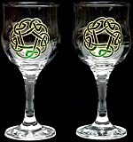 Pair of Wine Glasses in a Green Circle of Life Design. Handpainted and designed in the UK by Beverley Gallagher, these significant and expressive gifts are ideal for Christmas, Valentine's Day, Mother's Day, Easter, Father's Day, birthdays, anniversaries