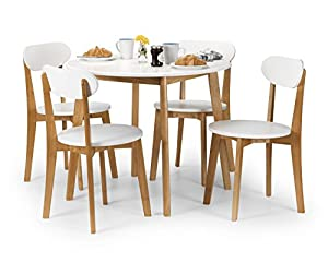 julian bowen tiffany dining table set with 4 chairs white oak colour kitchen home. Black Bedroom Furniture Sets. Home Design Ideas