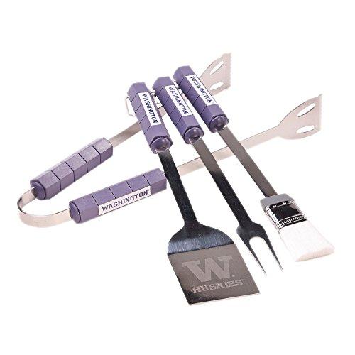 Bsi Products Home Garden Patio Lawn Outdoor Kitchen Grills Accessories Washington Huskies Ncaa Sports Team Logo 4 Pc BBQ Set