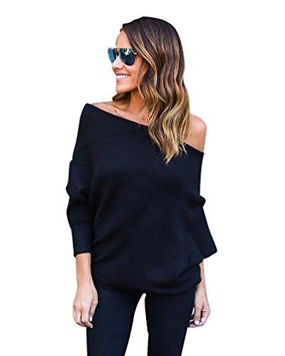 YouPue Donna Maniche Lunghe Felpa Senza Spalline Maglia Maglietta Pullovers Sweatshirt Tops Ragazze Allentato Moda Nero M