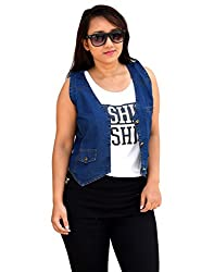 Aarti Collections Stylish Sleeveless Dark Blue Women's Denim Jacket