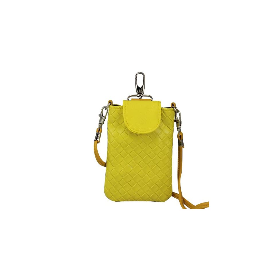 Universal Girl Yellow Leather Knit Style Zip Mobile Cell Phone Bag Case for Ipone4/iphone4s/iphone 5 HTC Samsung S3 Nokia Ipod