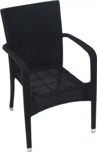 Hochwertiger Gartenstuhl Stapelstuhl, Poly-Rattan schwarz