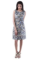 AARR blue printed A-line knee length sleeveless boat neck cotton dress