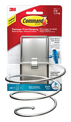 Command BATH39-SN-ES Hair Dryer Holder, Satin Nickel, 1-Hair Dryer Holder, 2-Large Water-Resistant Strips