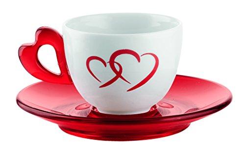 Guzzini 26760165 Set 6 Tazzine Caffe con Piattino, Modello Love