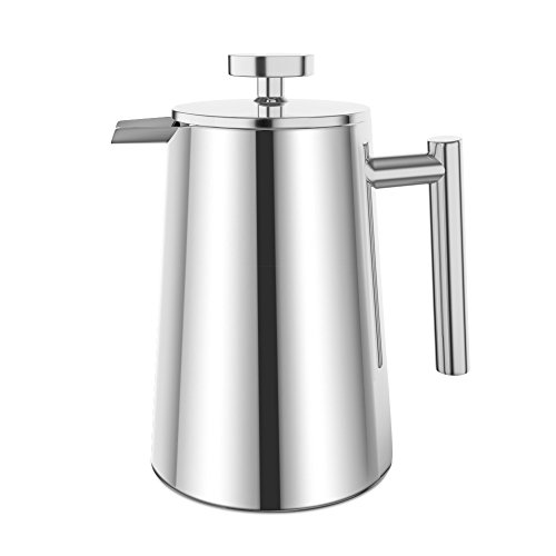 Cheap Plemo French Press Double Wall Stainless Steel Coffee Maker, 34 oz