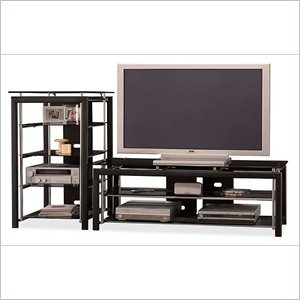 Cheap Bush Furniture Midnight Mist 60″ Flat Panel TV Stand and Audio Rack (AD44840-03-VS44850-03)