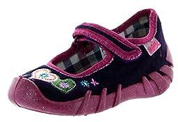 Befado Girls Andie Velcro Mary Jane Slippers - Made In Europe,Purple,22