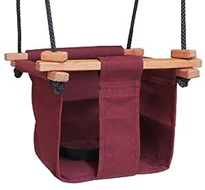 Baby kea swing burgandy indoor or outdoor for Baby garden swing amazon
