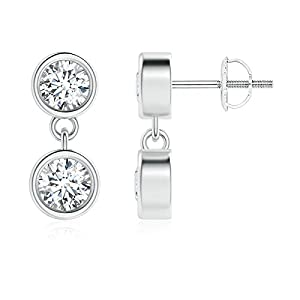 Mothers Day Dangling Two Stone Diamond Earrings in Platinum (Color: G, Clarity: VS, Weight: 0.4ctwt)