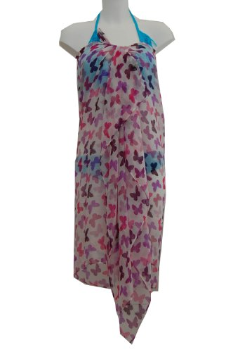 Tamari White Pink Butterfly Sarong Beach Cover Up Wrap Dress For Women One Size