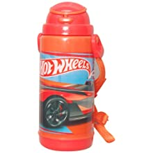 Hot Wheels Double Wall Push Button Water Bottle, Multi Color