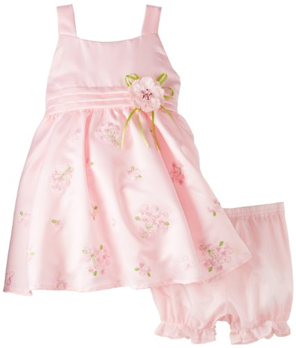 Nannette Baby-Girls Infant 2 Piece Embroidered Sateen Dress Set, Light Pastel Pink, 12 Months