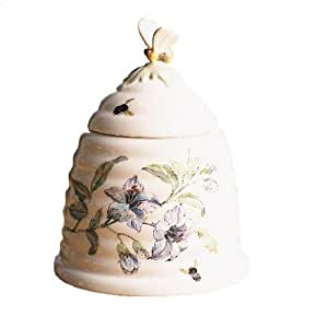 Lenox Butterfly Meadow Bone Porcelain Beehive Honey Pot