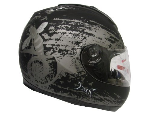 MATTE BLACK HORNET FULL FACE MOTORCYCLE STREET HELMET (&JX-A5007-BEE-MATTE BLACK) (Large)