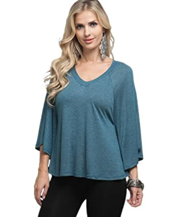G2 Chic Women's Loose V-Neck Drape T-Shirt Top(TOP-CAS,BLU-S)