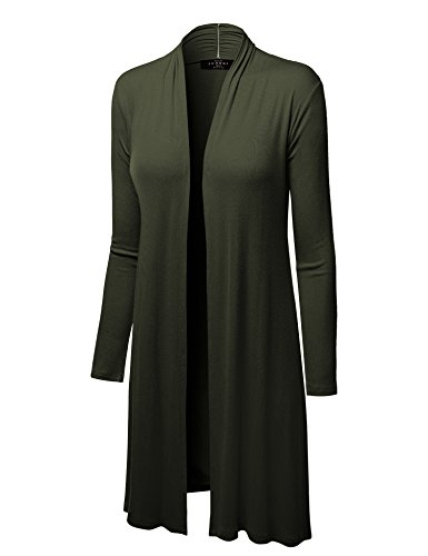 MBJ WSK1048 Womens Solid Long Sleeve Open Front Long Cardigan L OLIVE