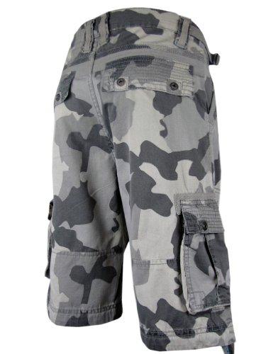 Mens Cargo Shorts Combat Camoflage Pattern Sand & Grey