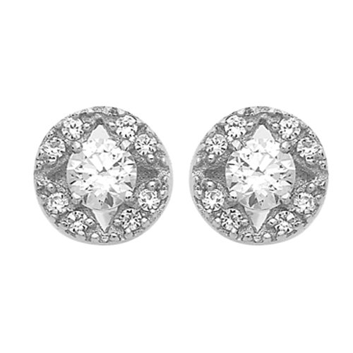 So Chic Jewels - 9k White Gold - Round Cubic Zirconia Dangle Earrings