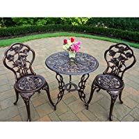 Bistro Set Outdoor Patio Furniture 3 Piece Rose Pattern Brown Antique Bronze Finish Cast Iron & Aluminum by BISTROS