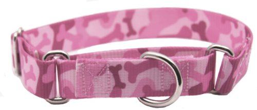 Martingale Bone Camo Patterned Dog Collar - Large, Pink