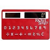 Mini Slim Credit Card Solar Power Pocket Calculator (Red)