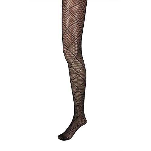 Adorox Black Net Lace Unique Pattern Fishnet Stockings Pantyhose Tights Hosiery (Diamond)