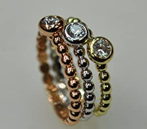 14kt Tri-color Gold Diamond Stackable Ring