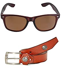 MagJons Combo Of Brown Leather Belt And Wayfarer Sunglasses For Men With Box