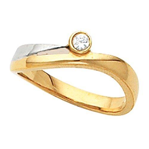 14K Two-Tone Gold Solitaire Diamond Ring - 0.06 Ct. - Size 6