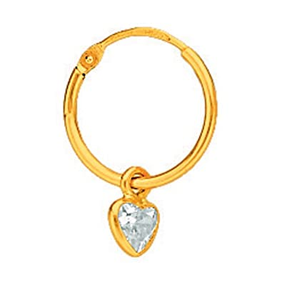 So Chic Jewels - 18k Yellow Gold - Cubic Zirconia Heart Creole Hoop Earrings