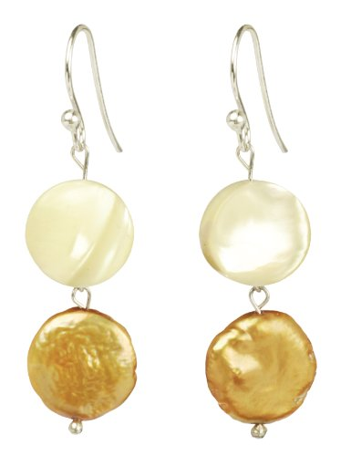 Mother-Of-Pearl and Bronze Pearl Coin Drop Earrings