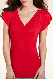 Per Una V-Neck Ruched Longline Top [T62-6268H-S]