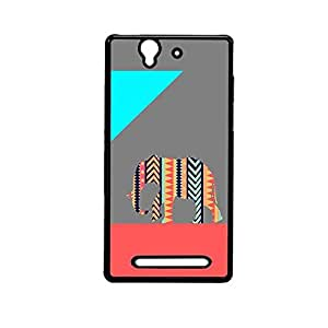 Vibhar printed case back cover for Sony Xperia C3 PatternElephantGrey
