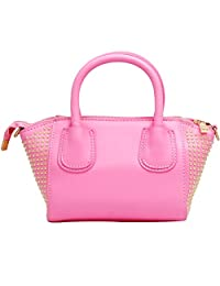 Super Drool P.U. Shoulder Bag-Pink & Golden