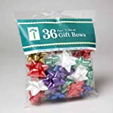 Pack of 36 Christmas Star Bows. Peel-n-stick.
