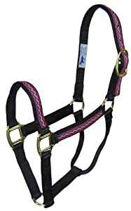Hamilton 8-11 1 Nylon Quality Horse Halter, Average for Horses 800 to 1100 lbs., Black Weave Overlay