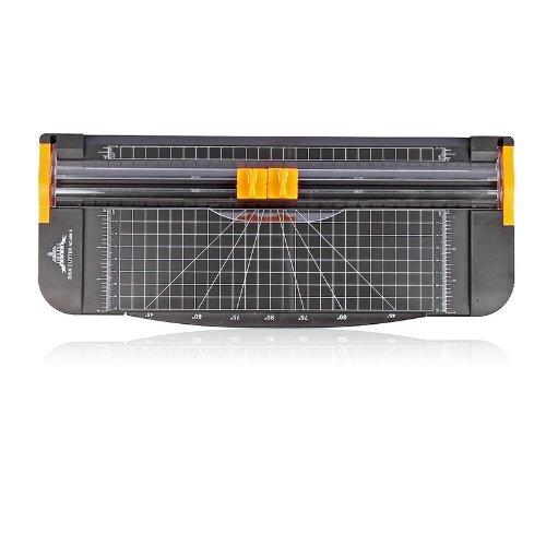 JLS 12 pollici A4 taglierino per carta - Trimmer con Multi -function, sicura automatica durante il taglio, nero-arancio