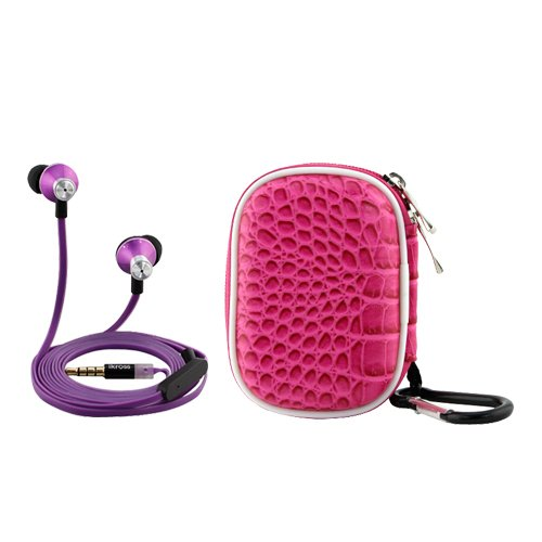 Ikross Purple In-Ear 3.5Mm Noise-Isolation Stereo Earbuds With Microphone + Hot Pink Accessories Carrying Case For Htc One (E8)/ (M8)/ (M7), Desire 610, Desire / Desire 601, One Max, One Mini Smartphone Cell Phone Mp3 Player And Tablet