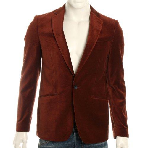 Scotch & Soda Mens Rocker Velvet Blazer Jacket - Brick 23 - L