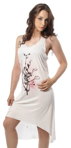 Inno cent dell'abito TREE & BIRD LONG DRESS bianco grezzo Large