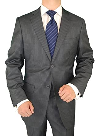 Giorgio Exclusive Platinum Label Italian Suit 100% Extra Fine Worsted Wool Super 150s 2 Button Jacket Plus Pants Gray Stripe (38 Short)
