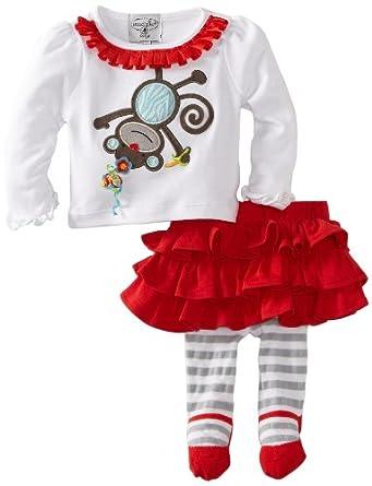 mud pie baby infant monkey skirt set