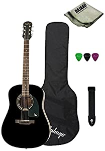 Epiphone DR 100 Dreadnought Acoustic Guitar Bundle With Gig Bag, Strap, Picks, Polishing Cloth, Ebony available at Amazon for Rs.9350