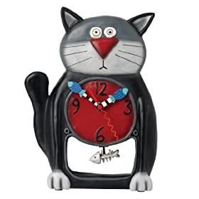 Allen Designs Black Kitty Cat Pendulum Wall Clock