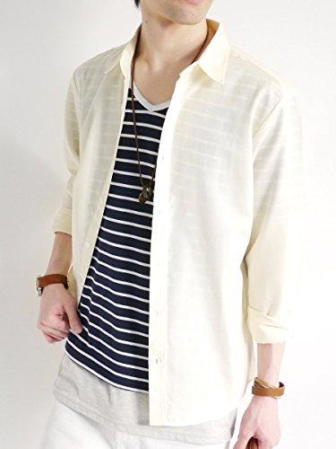 (モノマート) MONO-MART オックスフォード シャツ サマー きれい目 モード 細身 トップス ビジネス デザイナーズ 柄 無地 カラー メンズ イエロー XLサイズ
