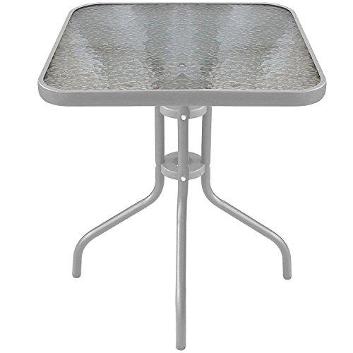 Bistrotisch-Balkontisch-Glastisch-60x60cm-Beistelltisch-Gartentisch-mit-Glasplatte-Silber